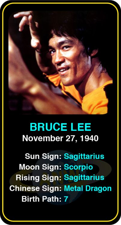Celeb #Sagittarius birthdays: Bruce Lee's astrology info! Sign up here to see more: https://www.astroconnects.com/galleries/celeb-birthday-gallery/sagittarius #astrology #horoscope #zodiac #birthchart #natalchart #brucelee