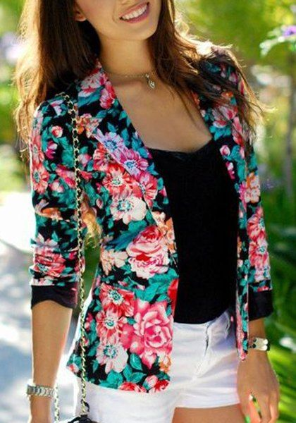 Stylish Lapel Long Sleeve Floral Print Blazer For Women