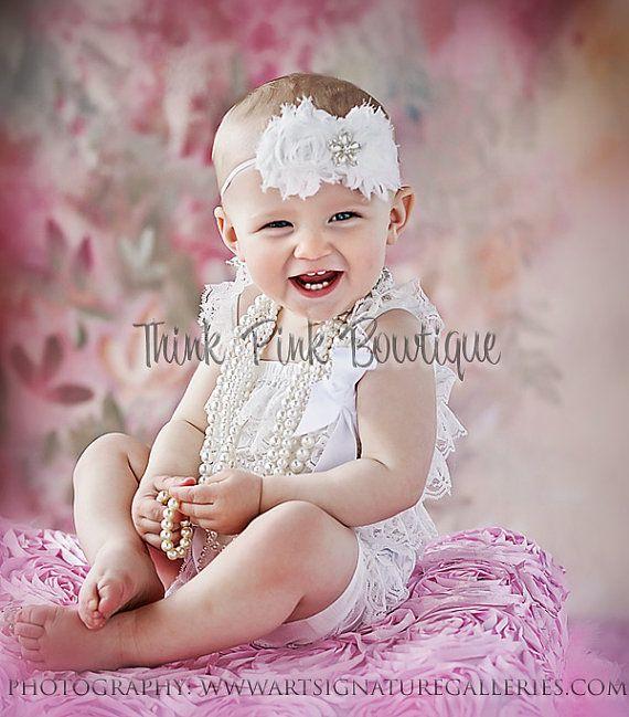 White Lace Petti Romper petti romper lace romper by ThinkPinkBows, $16.95