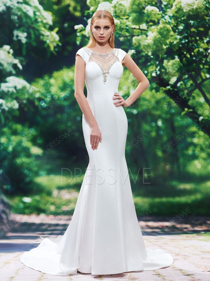 Buy Cap Sleeves Beading Mermaid Wedding Dress  Online, Dresswe.Com offer high quality fashion,Price: USD$178.29