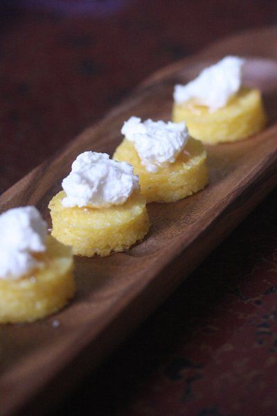 Crispy Polenta Bites with Truffle Honey - great #holiday party finger food!