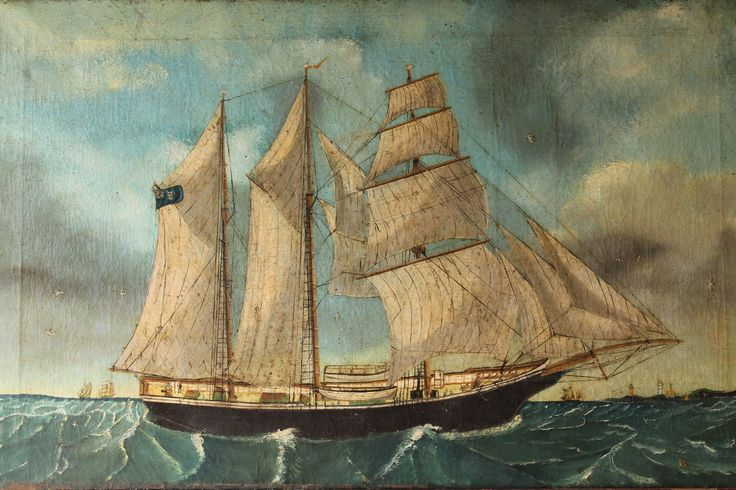 British 19th c primitive study of a ship in superb detail, 1894, oil on canvas at www.robhallantiques.co.uk #ship #primitive #folkart #interiordesign #interiorstylist #interiors #antiques #antique #decorative #decorativeantiques #art #artist #ship #sailing #robhallantiques #countryhouse #maritime #naval #sea