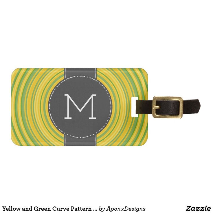 Yellow and Green Curve Pattern + Custom Initial