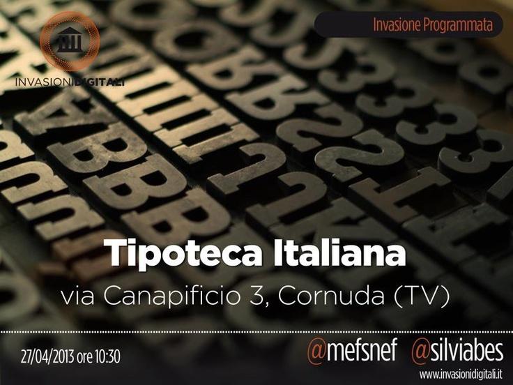 @silviabes e @Fabio Glez-Calzada Glez-Calzada Maffione ci portano, il 27 aprile alle ore 10.30 alla Tipoteca Italiana #invasionidigitali