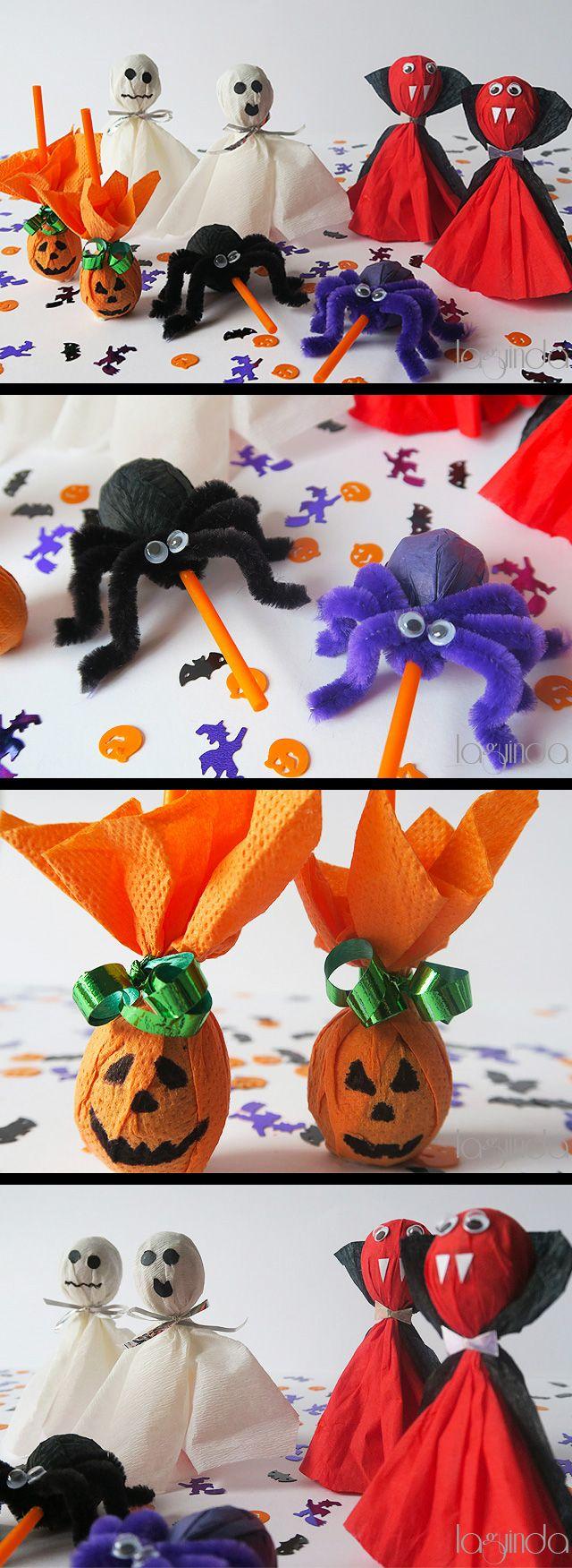 Very funny way to make halloween lollipops. Idea divertidísima para decorar chupa-chups en Halloween.