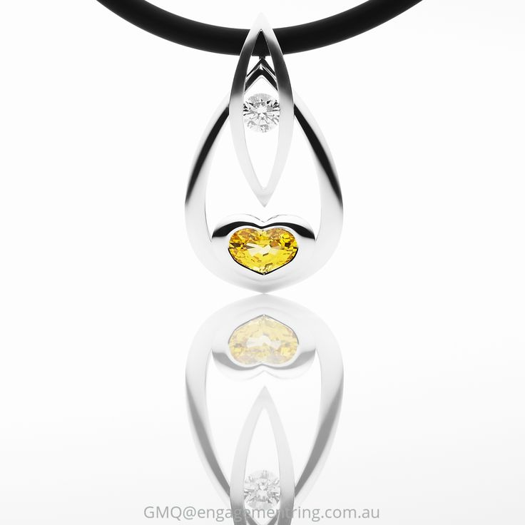 Beautiful and contemporary yellow sapphire and diamond pendants by GMQ@engagementring.com.au