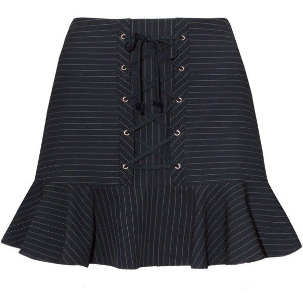 Mayla Navy Striped Corset Mini Skirt ($114) ❤ liked on Polyvore featuring skirts, mini skirts, pinstriped skirts, pinstripe mini skirt, navy blue skirt, lace up mini skirt and navy skirt