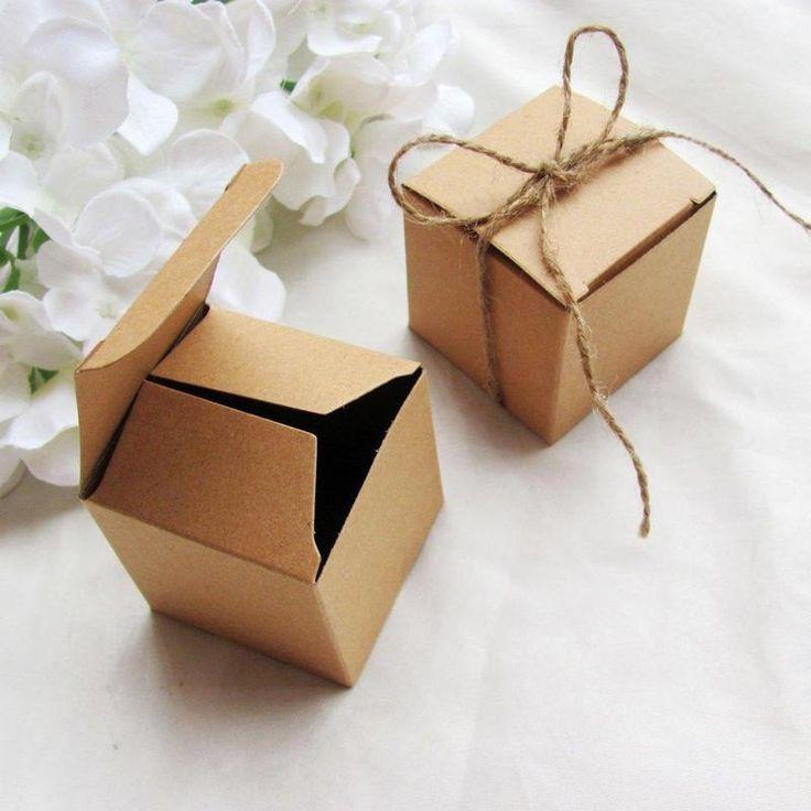 "2"" x 2"" Natural Bridal Shower Party Favor Gift Boxes - 100 pcs | eFavorMart"