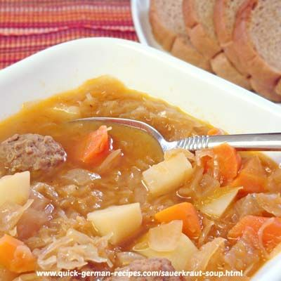 Sauerkraut Soup! What can be more German than that? http://www.quick-german-recipes.com/sauerkraut-soup-recipe.html