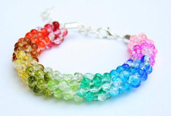 Rainbow Beaded Kumihimo Bracelet Beadweaving Beadwork by EmmaEmJD, £16.00