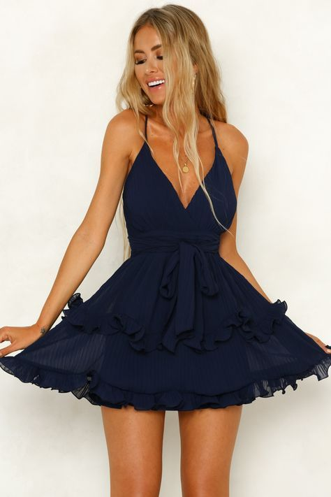 Seen On Stage Dress Navy