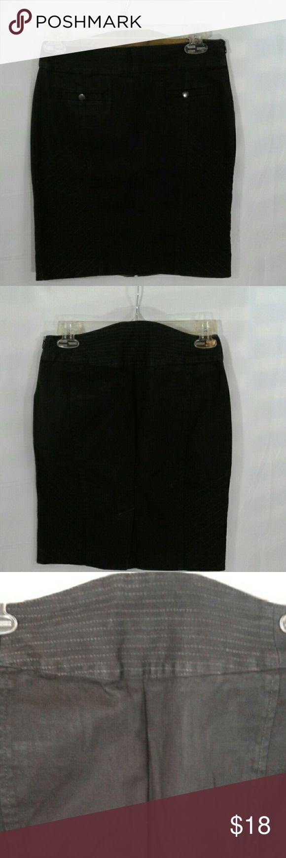 AX Armani Exchange Size P0 black denim skirt Black denim straight above knee size petite size 0 skirt, fabric 98% cotton 2% spandex machine washable. Two front snap top Pockets left side zipper back Center kick slit 4.5 in.  26 in waste, 30 inch hips, 17 in length. Armani Exchange Skirts Midi