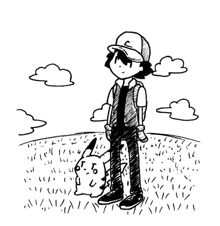 Ash and Pikachu Doodle by Hut2018