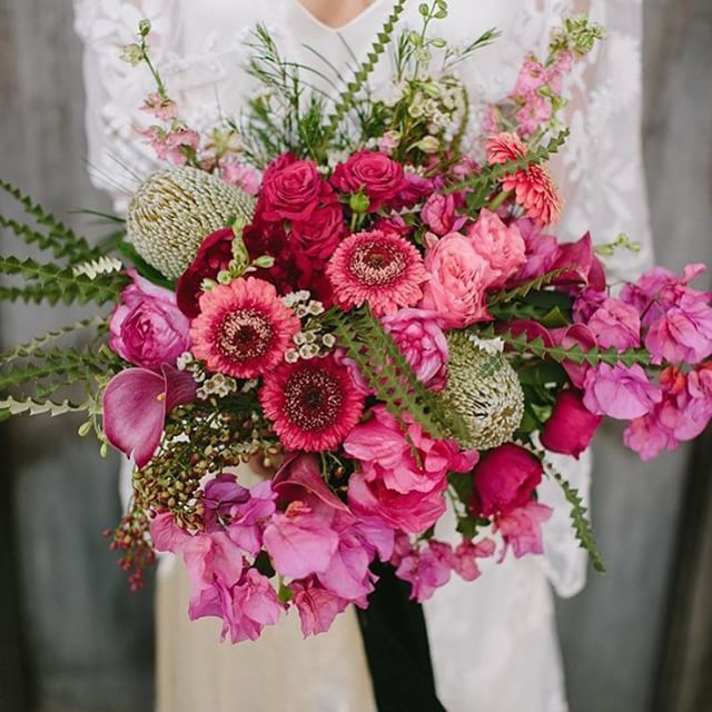 Boom! Major love for this fuchsia bouquet with bougainvillea ...
