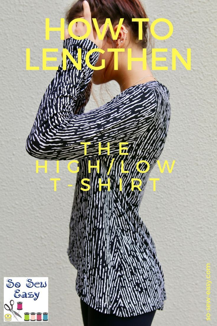 95 best tutorials pattern hacks alterations images on pinterest how to lengthen a sewing pattern using the hi low t shirt to illustrate baditri Gallery