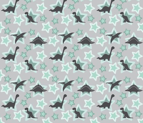 Baby dinosaur in mint fabric by sansdesign on Spoonflower - custom fabric