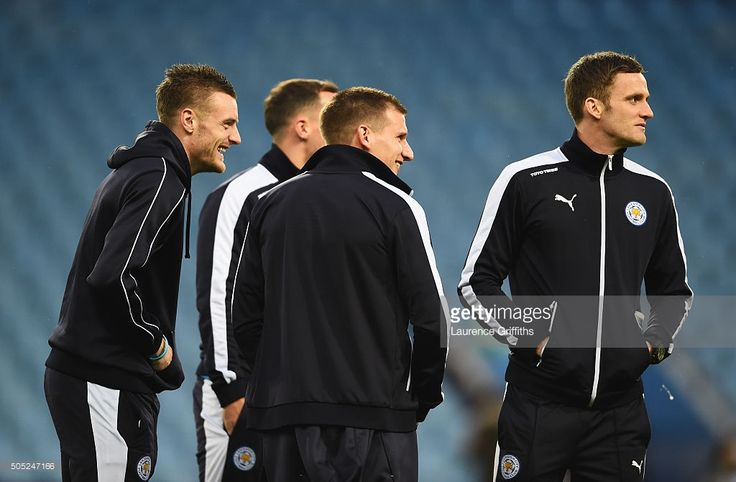 Jamie Vardy (1st L) and Leicester City players inspect the pitch prior to the Barclays Premier League match between Aston Villa and Leicester City at Villa Park on January 16, 2016 in Birmingham, England.