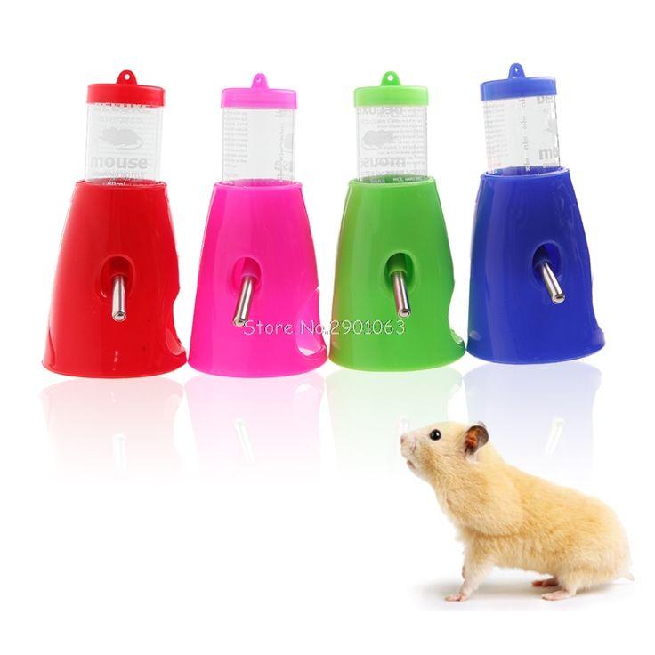 2 in 1 Hamster Water Bottle Holder Dispenser With Base Hut Small Animal Nest Toy H06