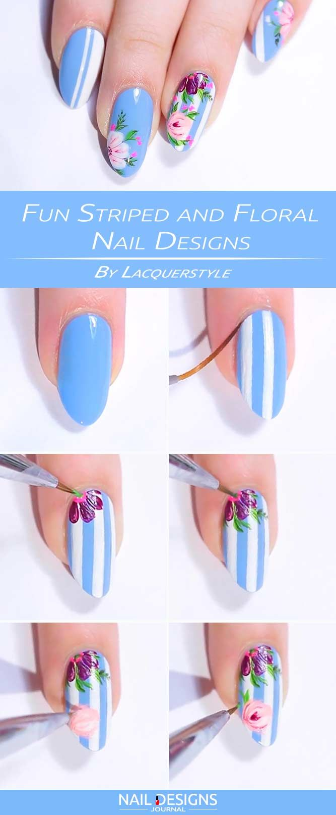 Fun Striped and Floral Nail Designs
