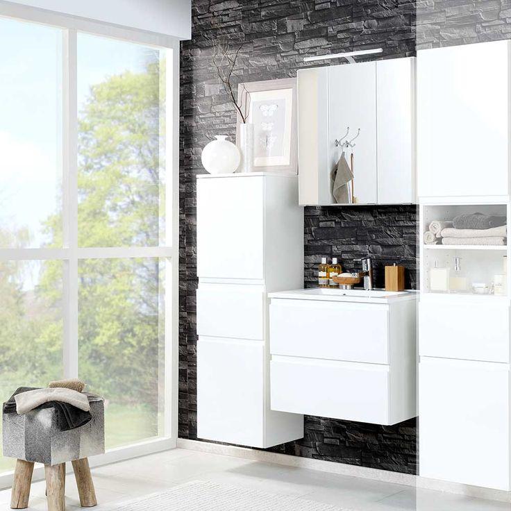 Spectacular Badezimmer Set in D Spiegelschrank Hochglanz Wei teilig Jetzt bestellen unter