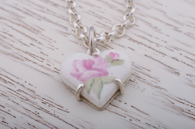 Heart Shaped China Painting Silver Pendant.