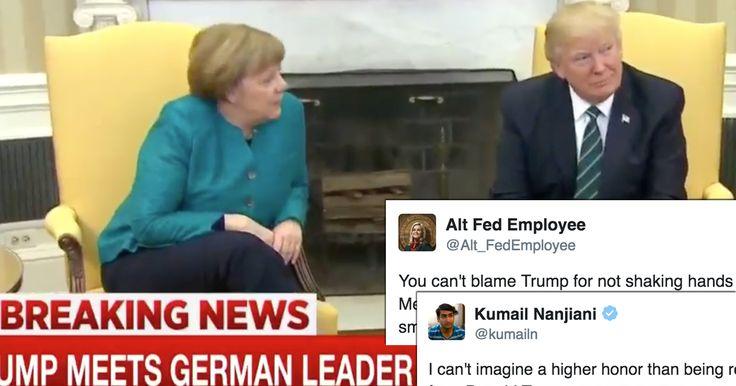 Twitter Is SHREDDING Trump For Refusing To Shake Angela Merkel's Hand