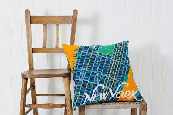 Hedendaagse New York City kaart tapijt / needlepoint kit in halve cross stitch…