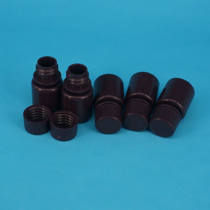 Lot5 15ml Brown PP Plastic Cylindrical Chemical Container Reagent Bottle #Affiliate
