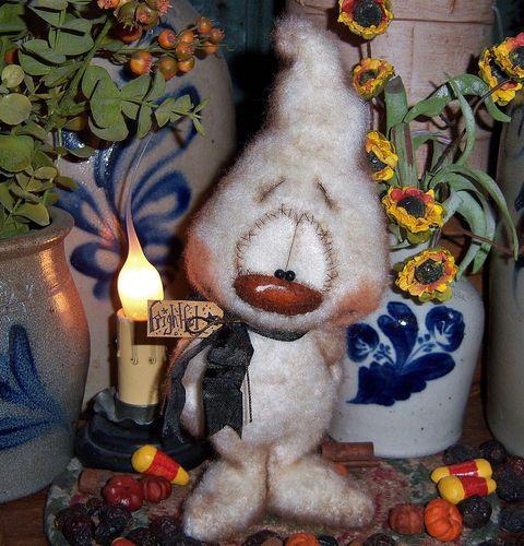 "Primitive Halloween Fuzzy Ghost Bear 8"" Doll ★ Vtg Patti's Ratties Monster Ornie"