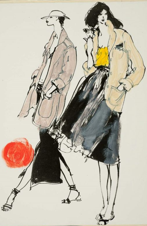 Fashion illustration by Kenneth Paul Block (1925–2009), design by Gary Lisz and by Willi Smith,  Fairchild Publications, W Magazine.