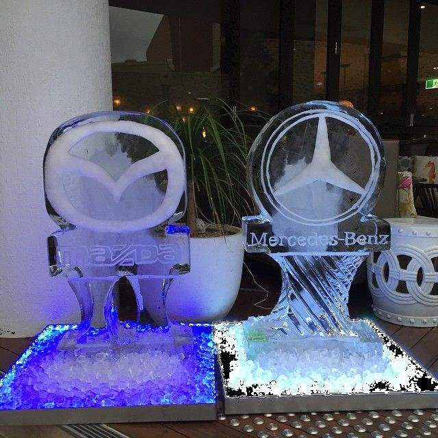 Mercedes Benz & Mazda #ice sculptures we did last Friday. Still slightly #frosty! #logo #mercedesbenz #mazda #christmas #party #function #cool #cars #lights