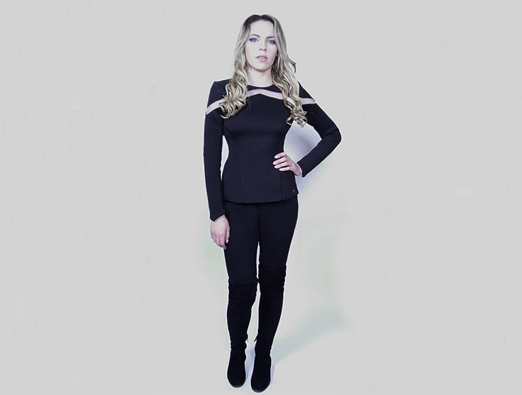 Platinum Blonde Girl in a Handmade Fitted Black Neoprene Top with Mesh Inserts made in Toronto with love 💕 Chic Sophistic™ http://chicsophisticstore.com/product/fitted-neoprene-top-with-inside-bra/