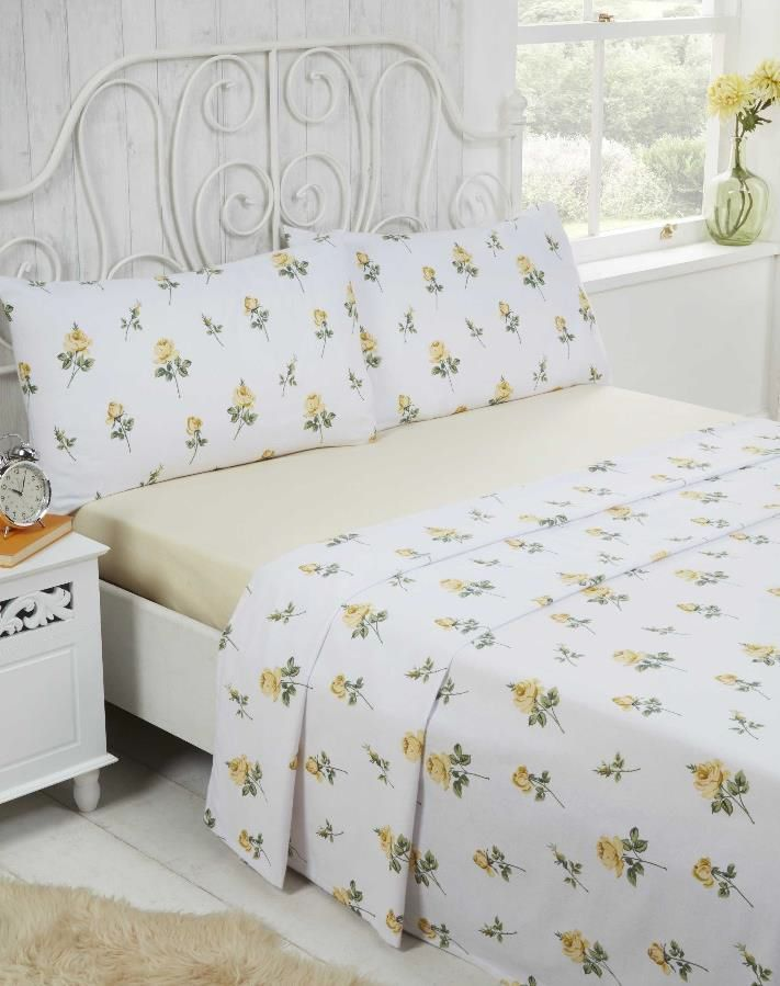 Rosebud 100% Brushed Cotton Flannelette Sheet Set Single Double King Size