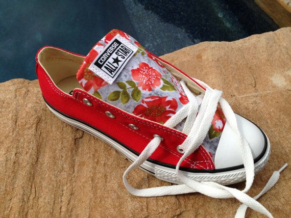 Chuck Taylors Converse Low Top Sneakers Red Custom by Goodgarment