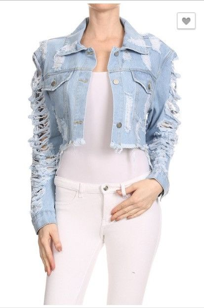 (A) Cropped Distress Denim Jacket