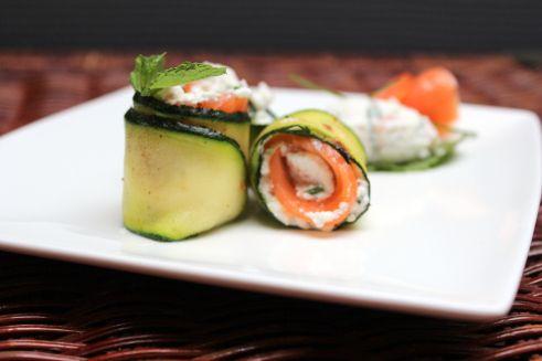 Petits rouleaux de courgette, ricotta, saumon