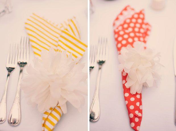 bright napkins with pom pom rings