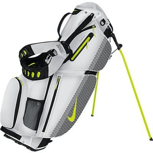 Nike Air Sport Stand Golf Bag, White/Venom Green/Black