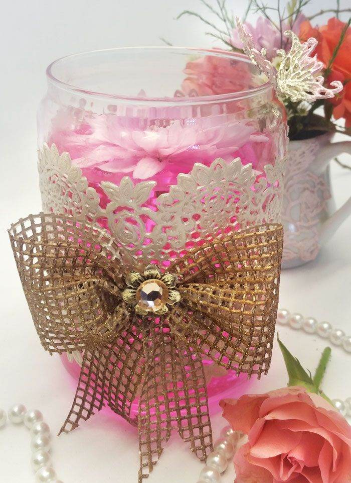 Decorative flower jar with edible lace wrapped and edible hessian lace bow