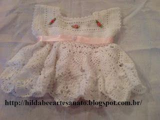 Hilda Bee Artesanato: Vestido para recem nascido em croche