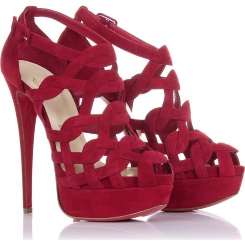 Christian Louboutin Red Larissa Plato Suede Heels. I would never wear these at my age, but that is a HOT shoe!