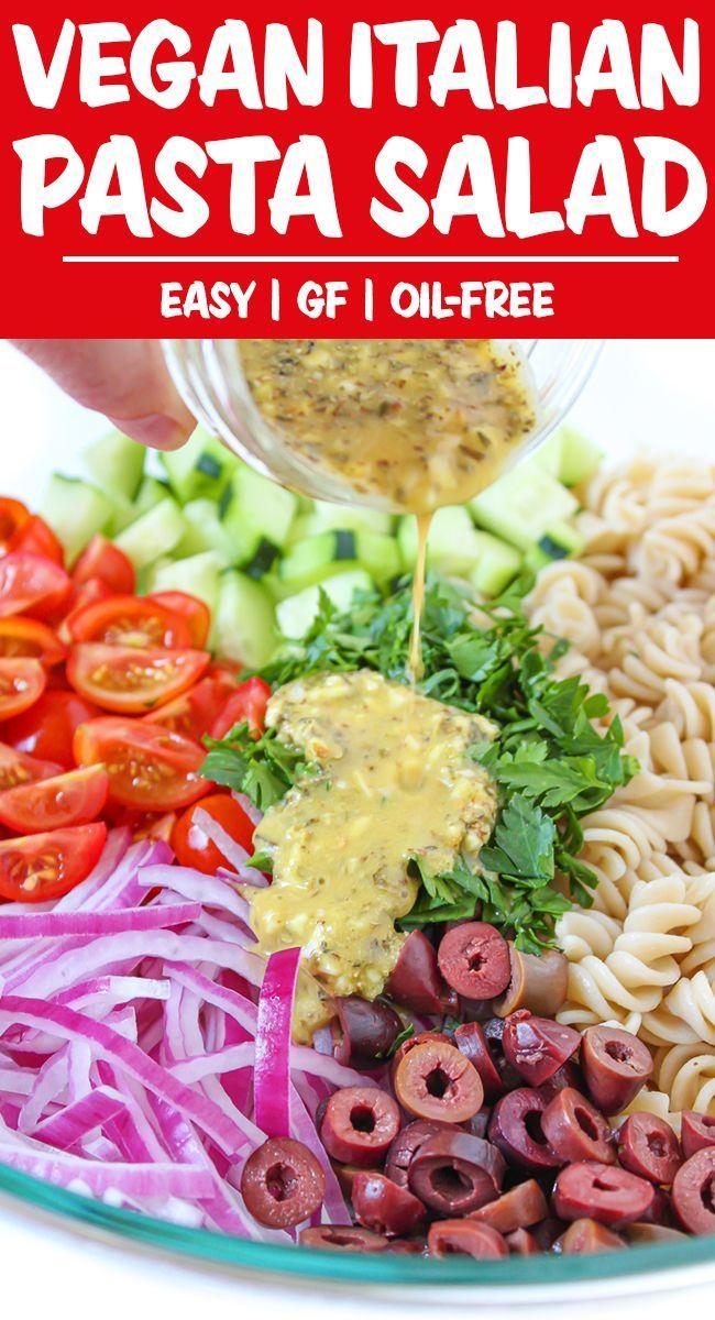Vegan Italian Pasta Salad Oil Free The Garden Grazer In 2020 Vegan Italian Vegan Pasta Salad Pasta Salad Italian