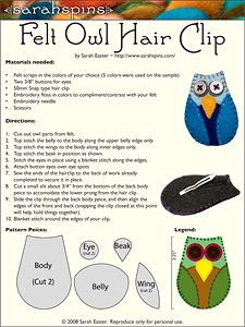 owl hair clip pattern