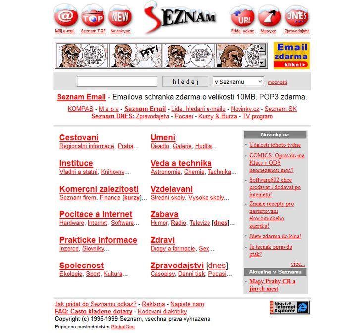 Seznam website in 1999