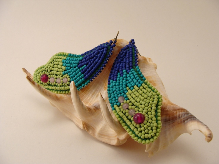 Born from the sea - bead embroidery earrings with agate and Dragon veins agate