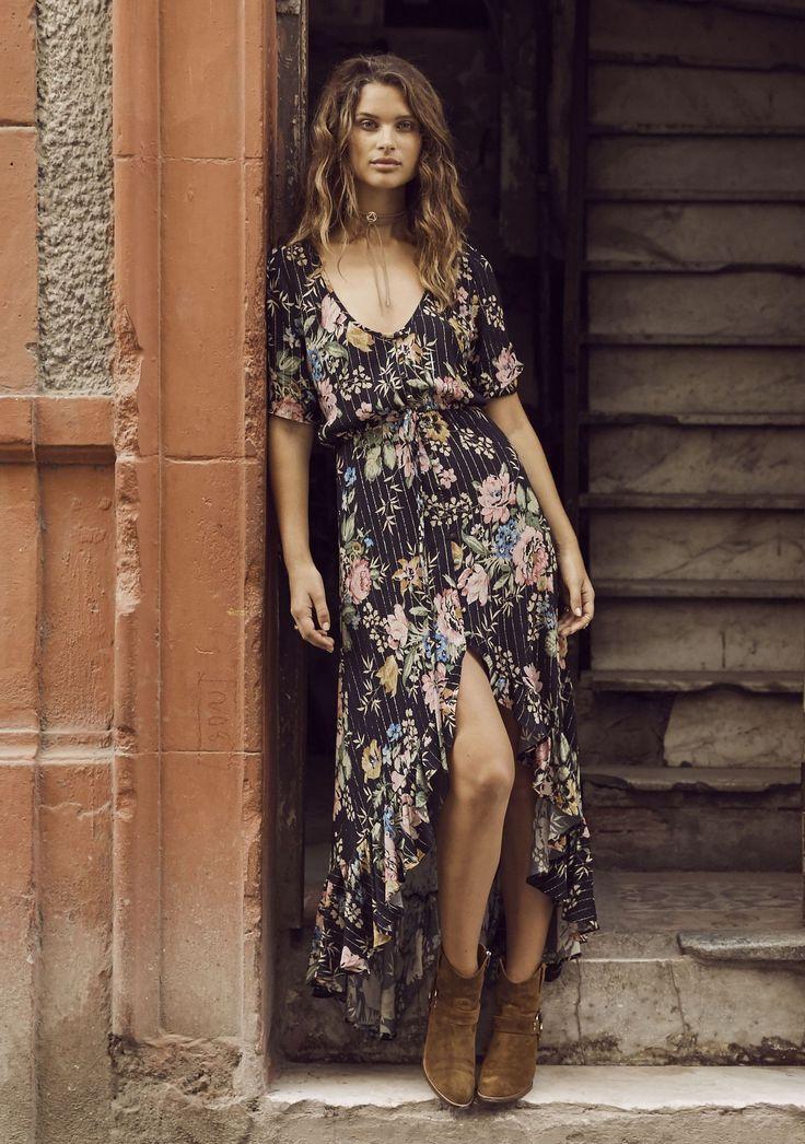 Auguste - Delilah Frill Maxi Dress- Black