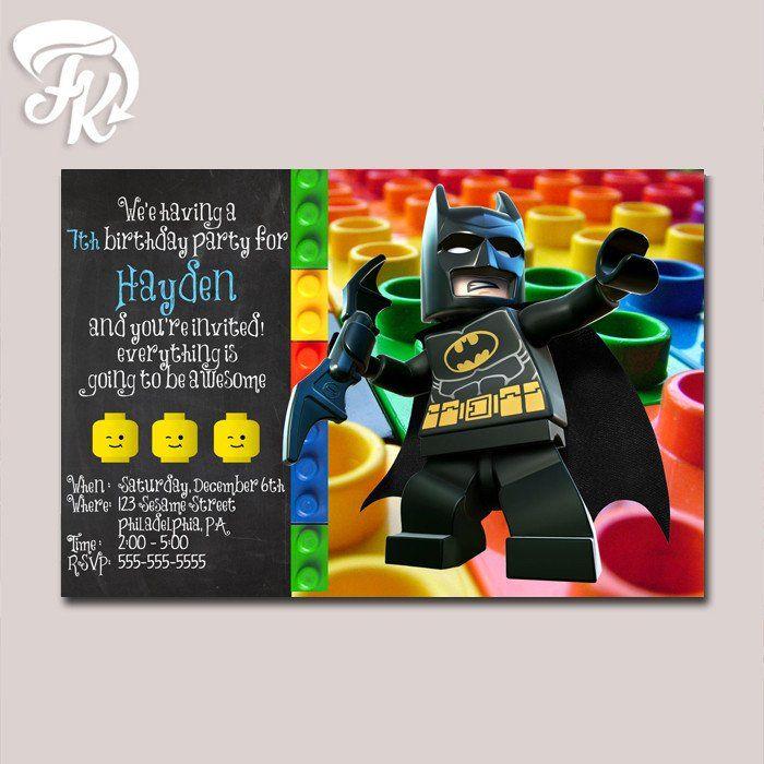 Batman Lego Inspired Birthday Party Card Digital Invitation                                                                                                                                                     More