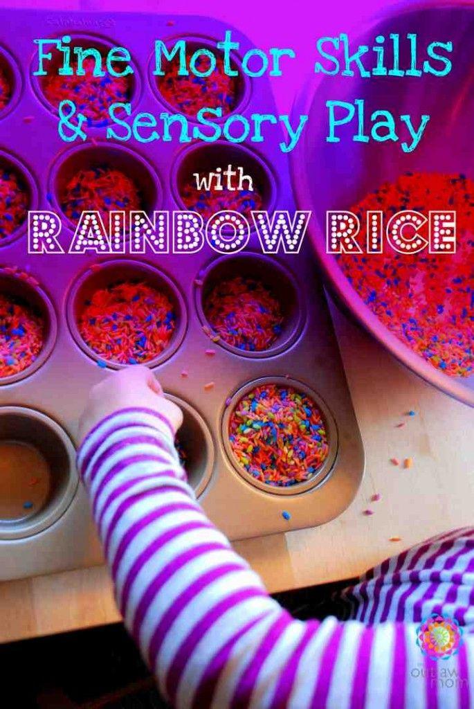 Fine Motor Skills And Sensory Play Rainbow Rice Activities