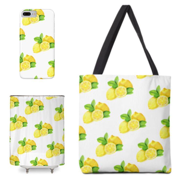 Watercolor lemons pattern #watercolor #yummy #lemon #pattern #yellow #citrus #fruits #sour