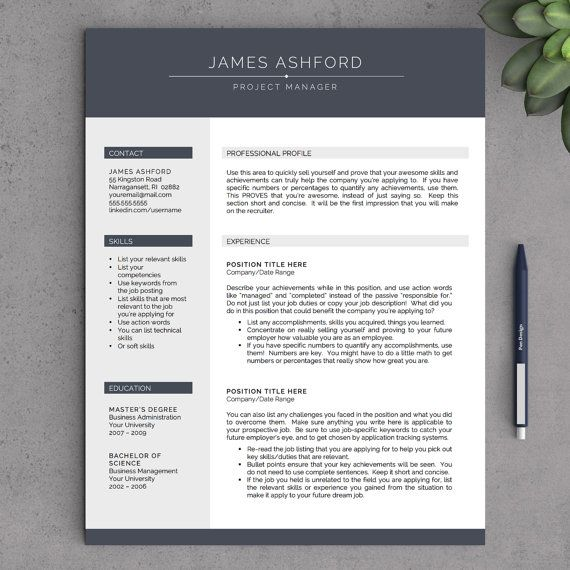 36 best resume templates images on Pinterest Resume templates